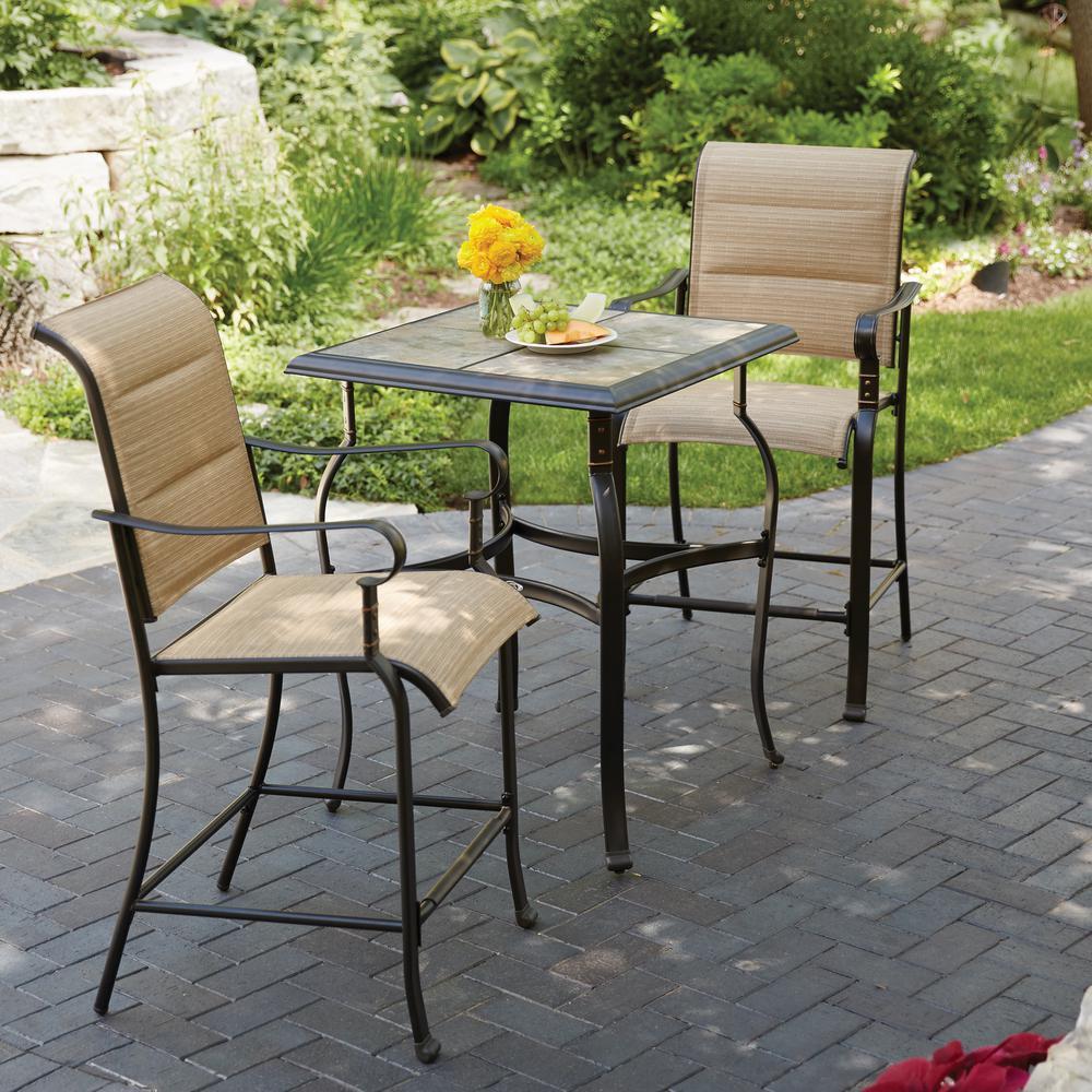 bistro patio set hampton bay belleville 3-piece padded sling outdoor bistro set XVDWBTT