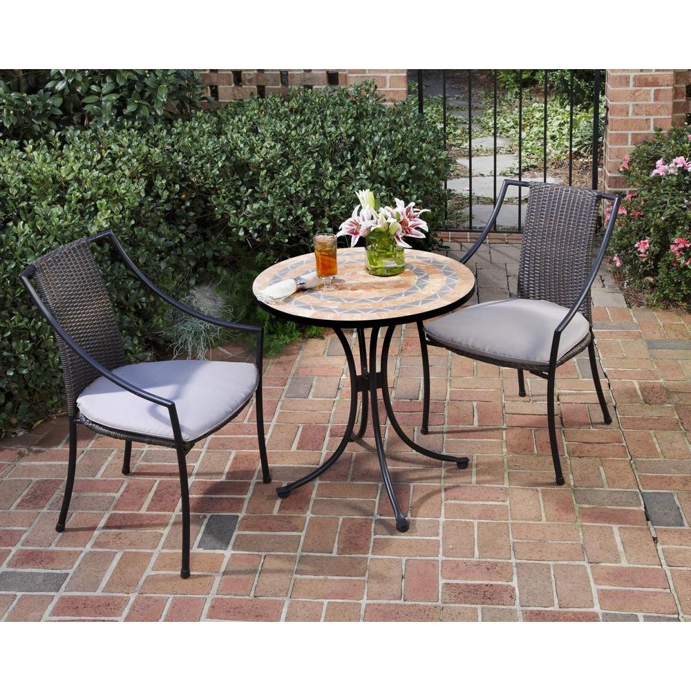 bistro patio set home styles terra cotta 3-piece tile top patio bistro set with taupe OKGINEL