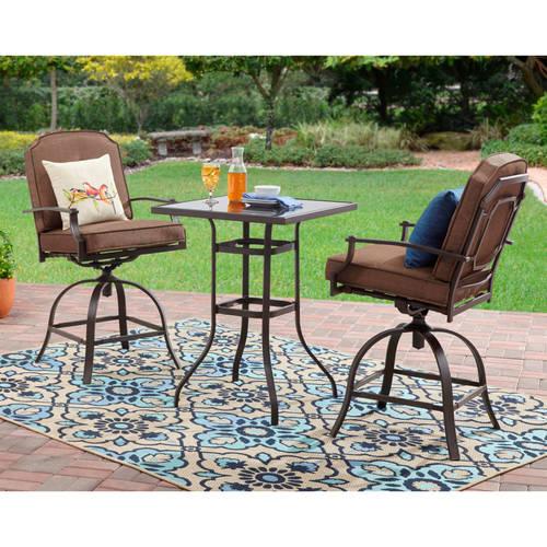 bistro patio set mainstays wentworth 3-piece high outdoor bistro set, seats 2 - walmart.com SNELTEU
