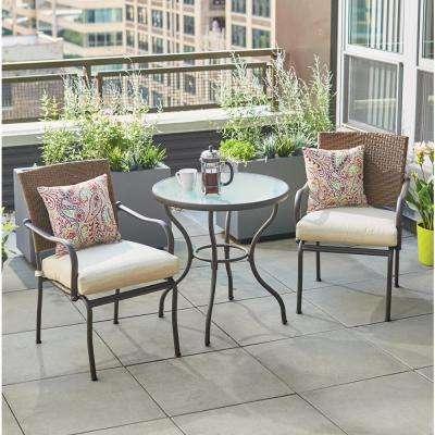 bistro patio set pin oak 3-piece wicker outdoor
