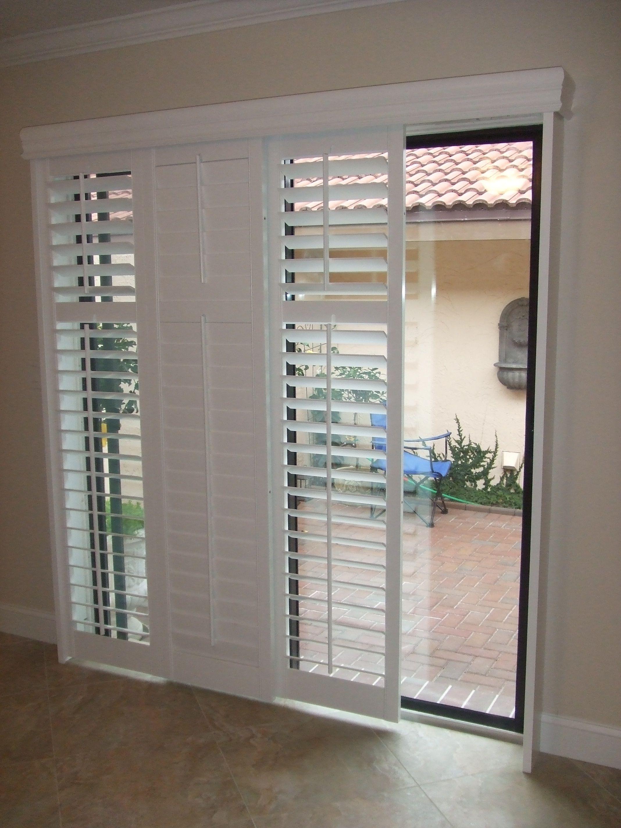 blinds for sliding doors modernize your sliding glass door with sliding plantation shutters LBVESXZ