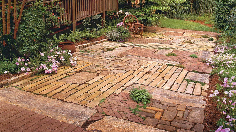 brick patio patchwork quilt patio TMWXHSI