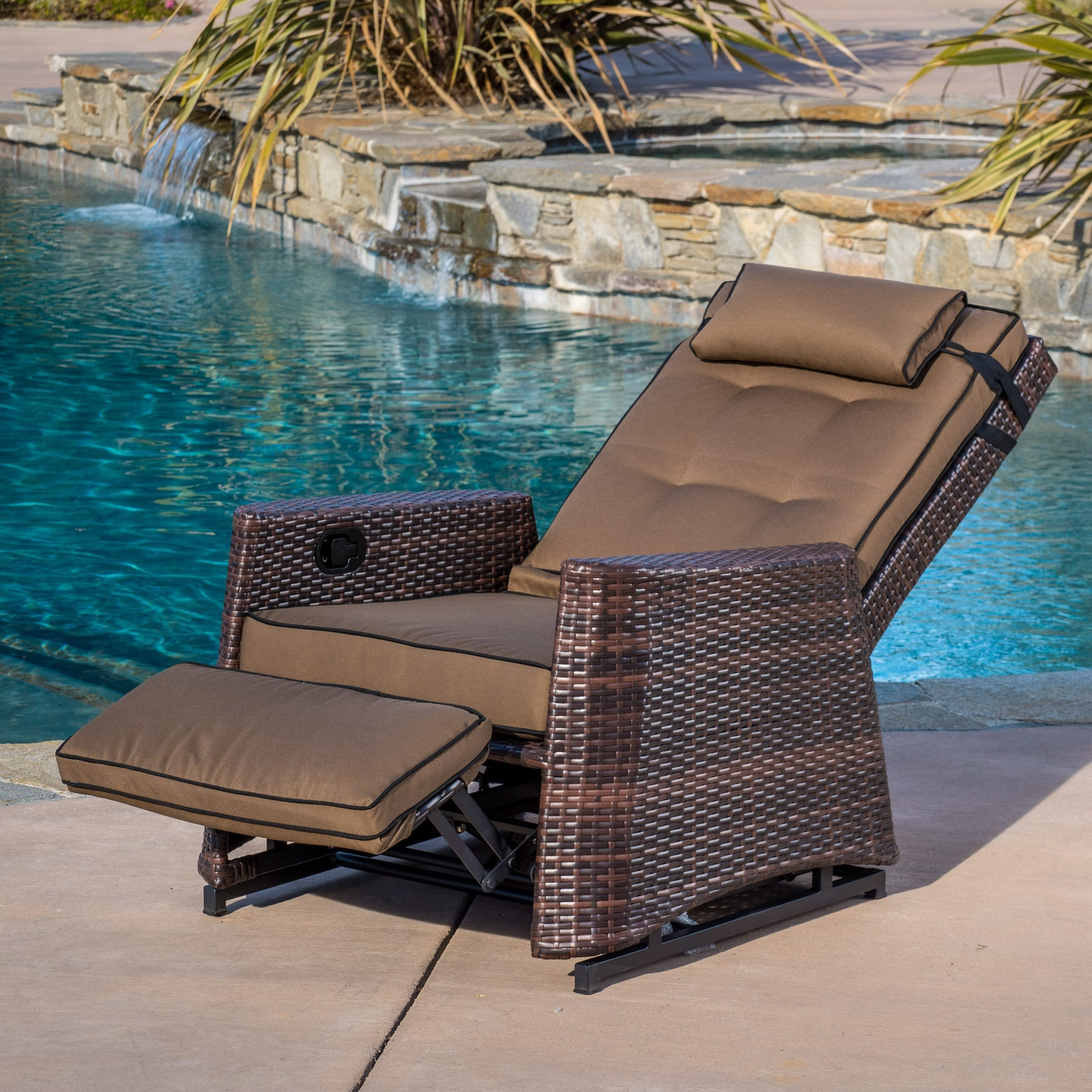 brown wicker outdoor recliner rocking chair by christopher knight home COKNHOP