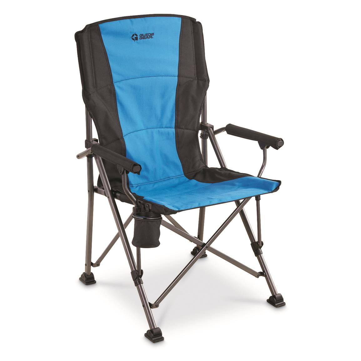 camp chairs guide gear oversized champion hard arm camp chair, blue DFAPWXD