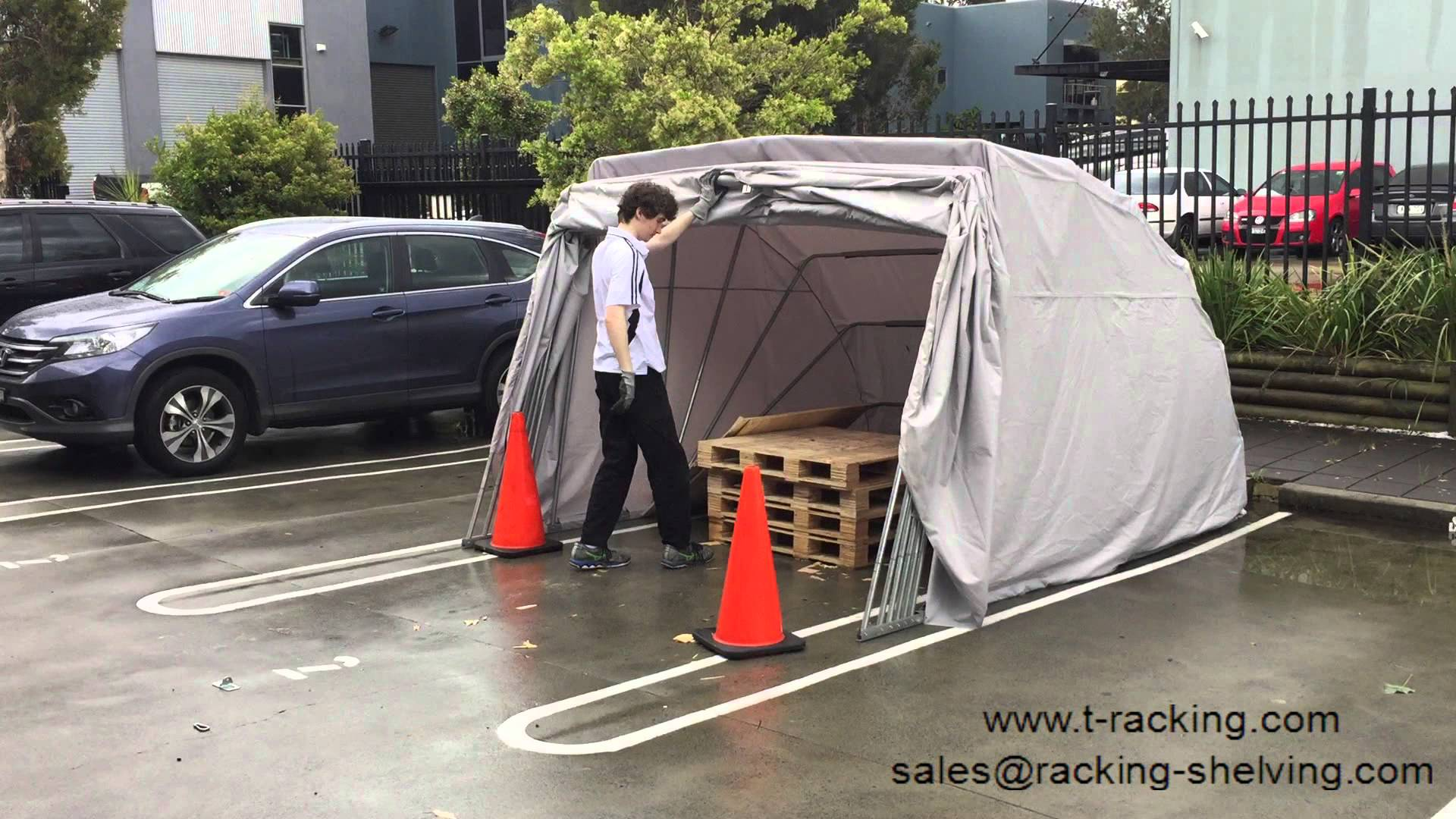 car shelters portable car shelter hailstorm test - after hailstorm - youtube LOWWUET