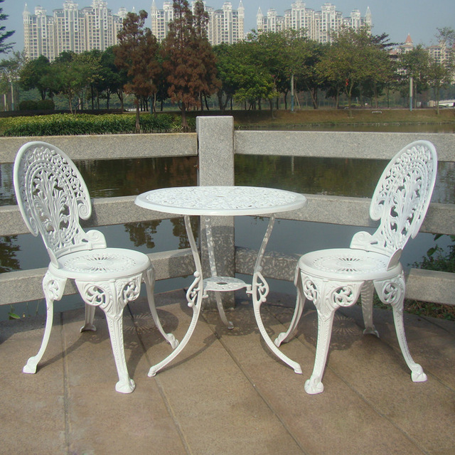 cast aluminium garden furniture set ~~ table and 2 chairs ~~ bgtckox KNRIWJI