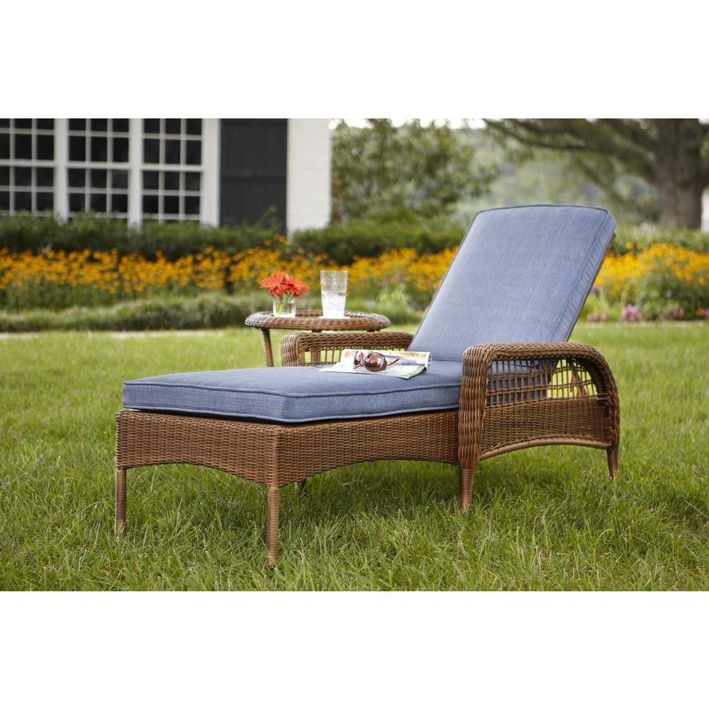 chaise lounge outdoor hampton bay spring haven brown all-weather wicker outdoor patio chaise  lounge BVHFBGI