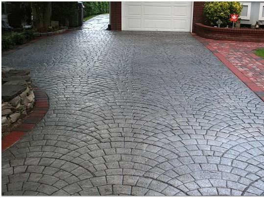 charcoal, silver concrete driveways starburst concrete design brewster, ny VGNGCMK