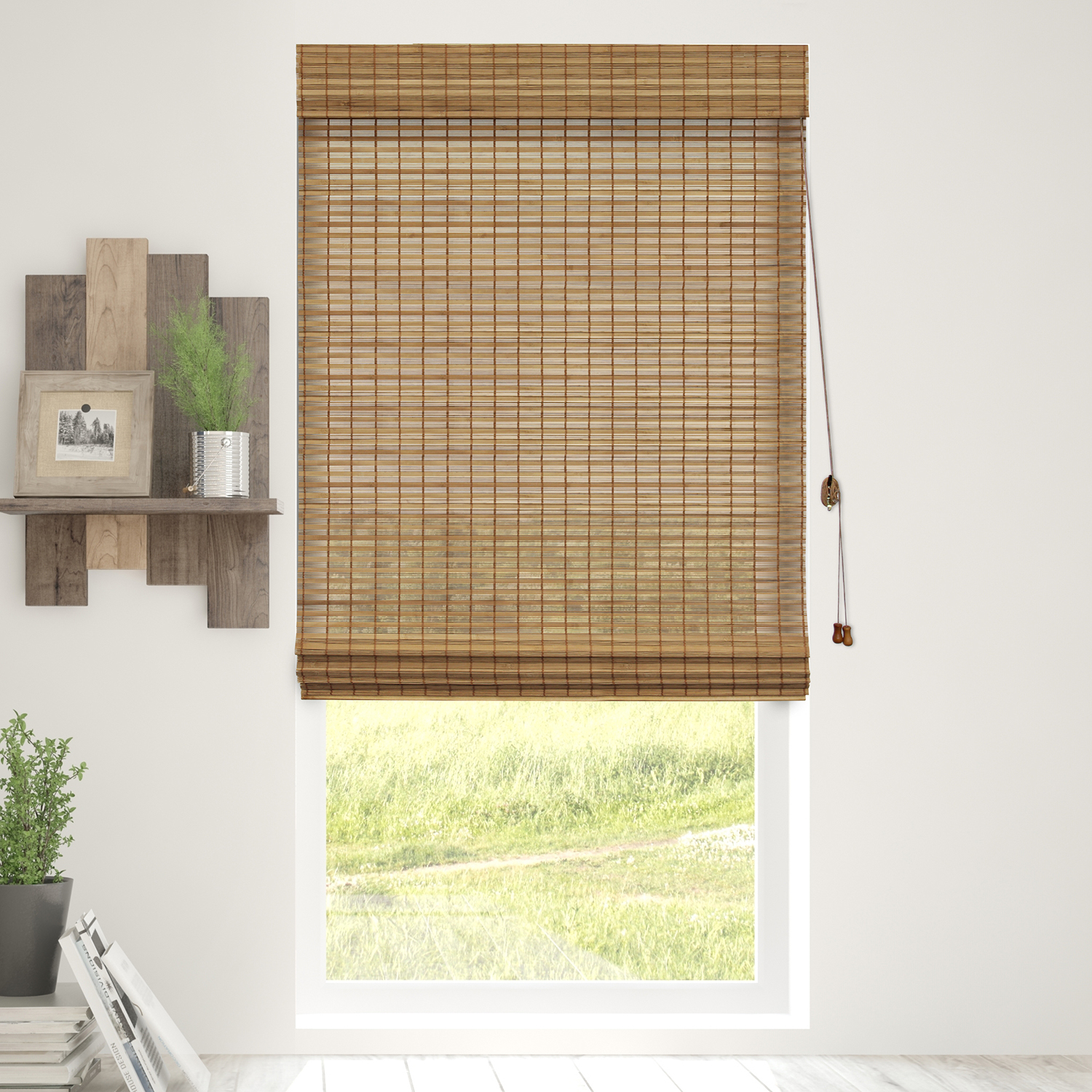 chicology bamboo roman shades, natural woven wood privacy window blind,  squirrel EUYGWKZ