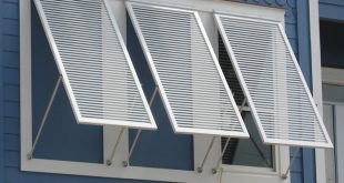 close-up photo of aluminum bahama shutters. RPHGMBT