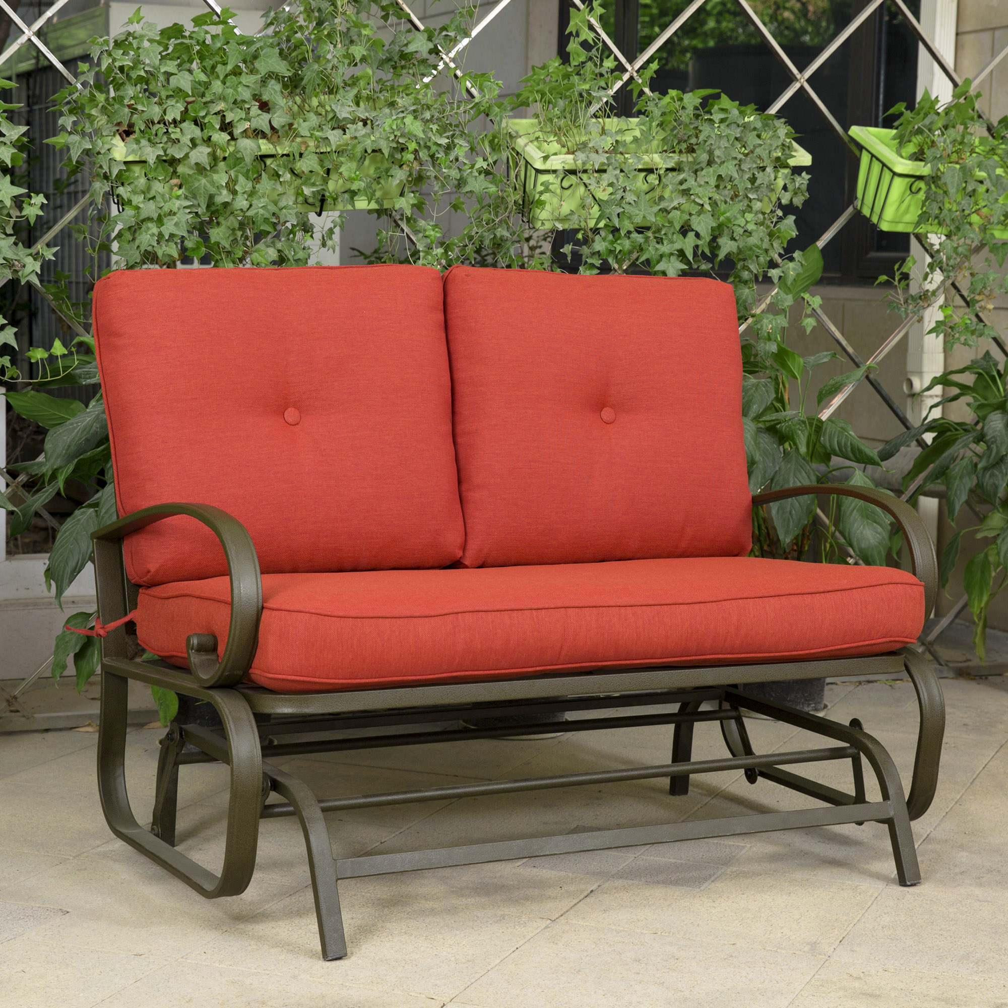 cloud mountain patio glider bench outdoor cushioed 2