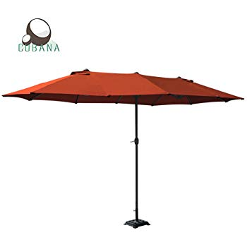 cobana 15 ft market outdoor umbrella double-sided aluminum table patio  umbrella YLQTGVN