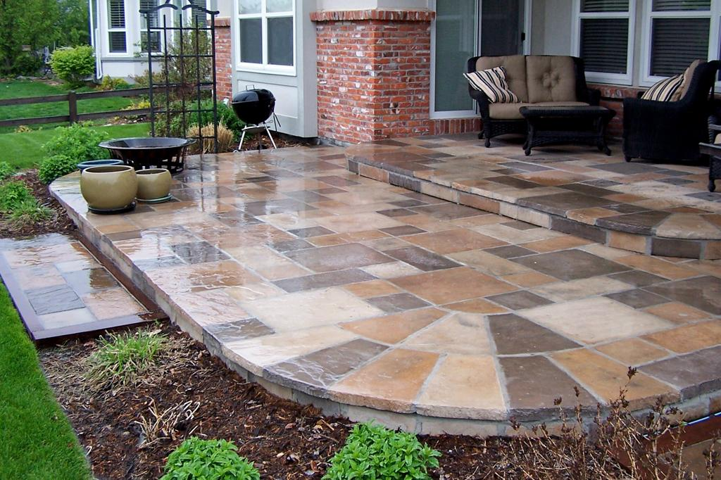 concrete patio stones ideas LEVUEXK