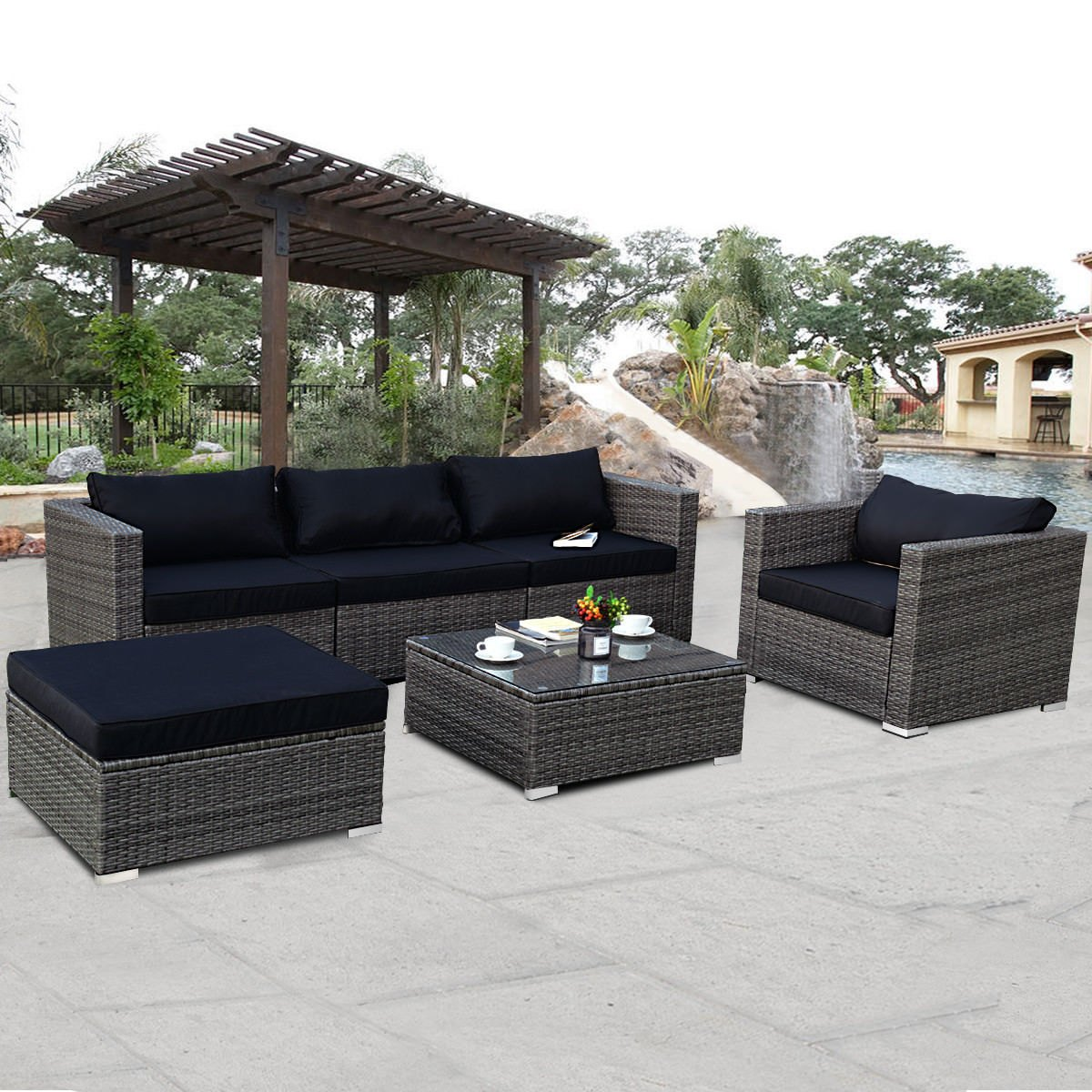 costway 6-piece rattan wicker patio furniture set sectional sofa couch yard EKJVVTC