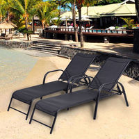 costway set of 2 patio lounge chairs sling chaise lounges recliner YHLTHRE