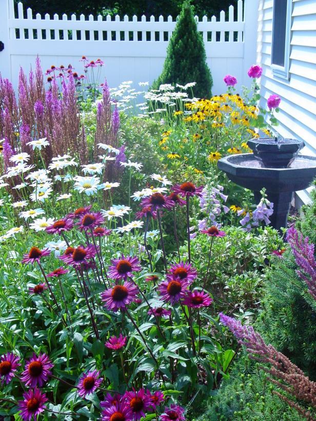 cottage garden bright and airy flower garden with white fence WVOMNCU