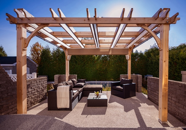 covered pergola - with retractable canopy 12 x