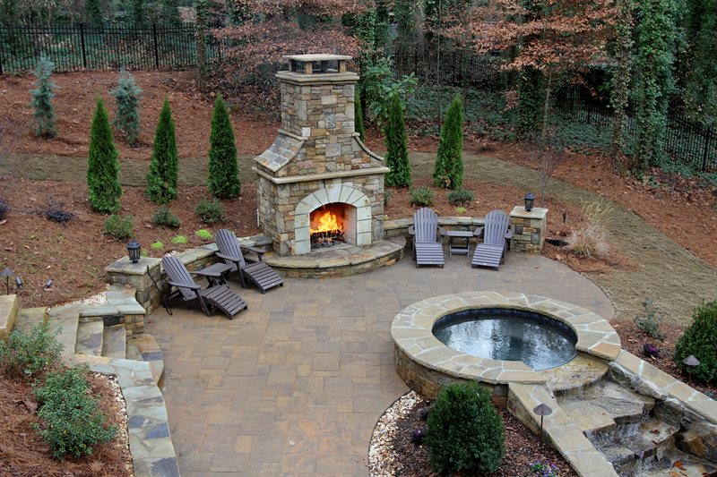 custom stone backyard fireplace outdoor fireplace artistic landscapes  woodstock, ga XZFQFTS