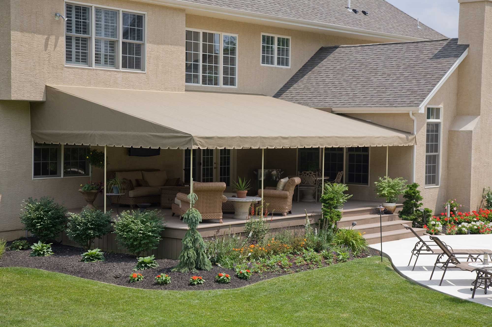 deck awnings stationary canopies | kreideru0027s canvas service, inc. HCEESMT
