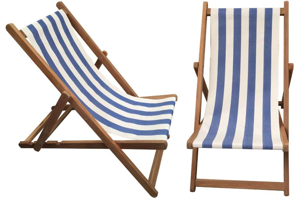 deck chairs blue u0026 white stripe deckchair - soccer stripe KKNOLSH