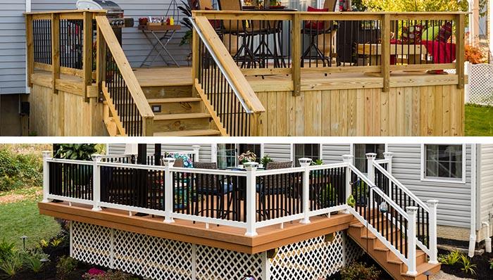deck designs: wood deck and composite deck. OMQGJSP