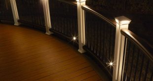 deck lights curved trex transcend railing is illuminated by led pyramid post cap lights WPTJWRY