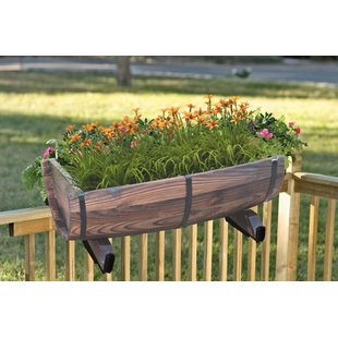 deck planters half barrel adjustable deck wood rail planter JHJBDPB