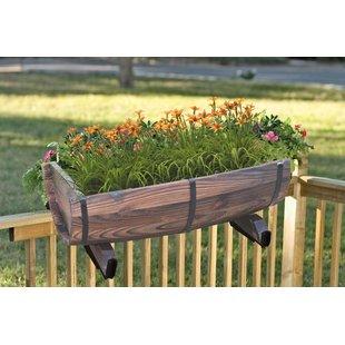 deck planters half barrel adjustable deck wood rail planter JHJBDPB
