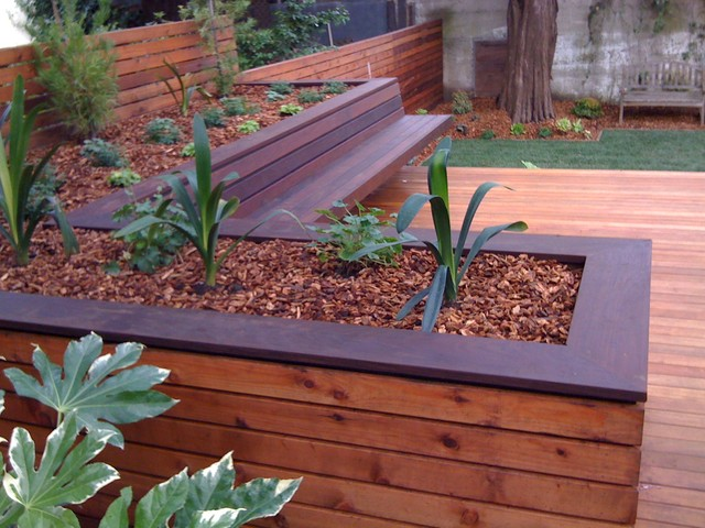 deck planters hardwood deck with built-in bench and planters contemporary-deck DGBKMOO