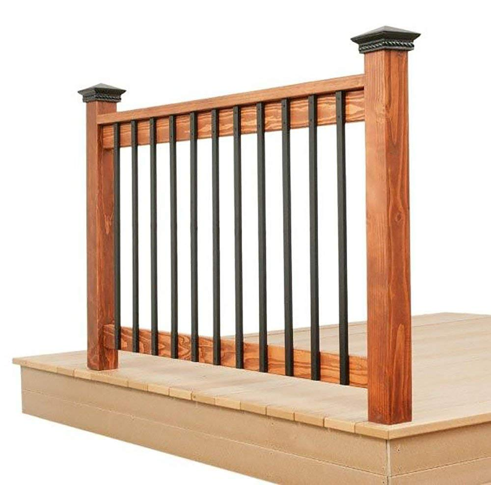 deck spindles 32.25-inch rectangle facemount baluster black smooth- 5 pack - staircase  balusters KLFCQKQ