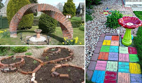 diy garden ideas garden-backyard-brick-projects WGHJMSE