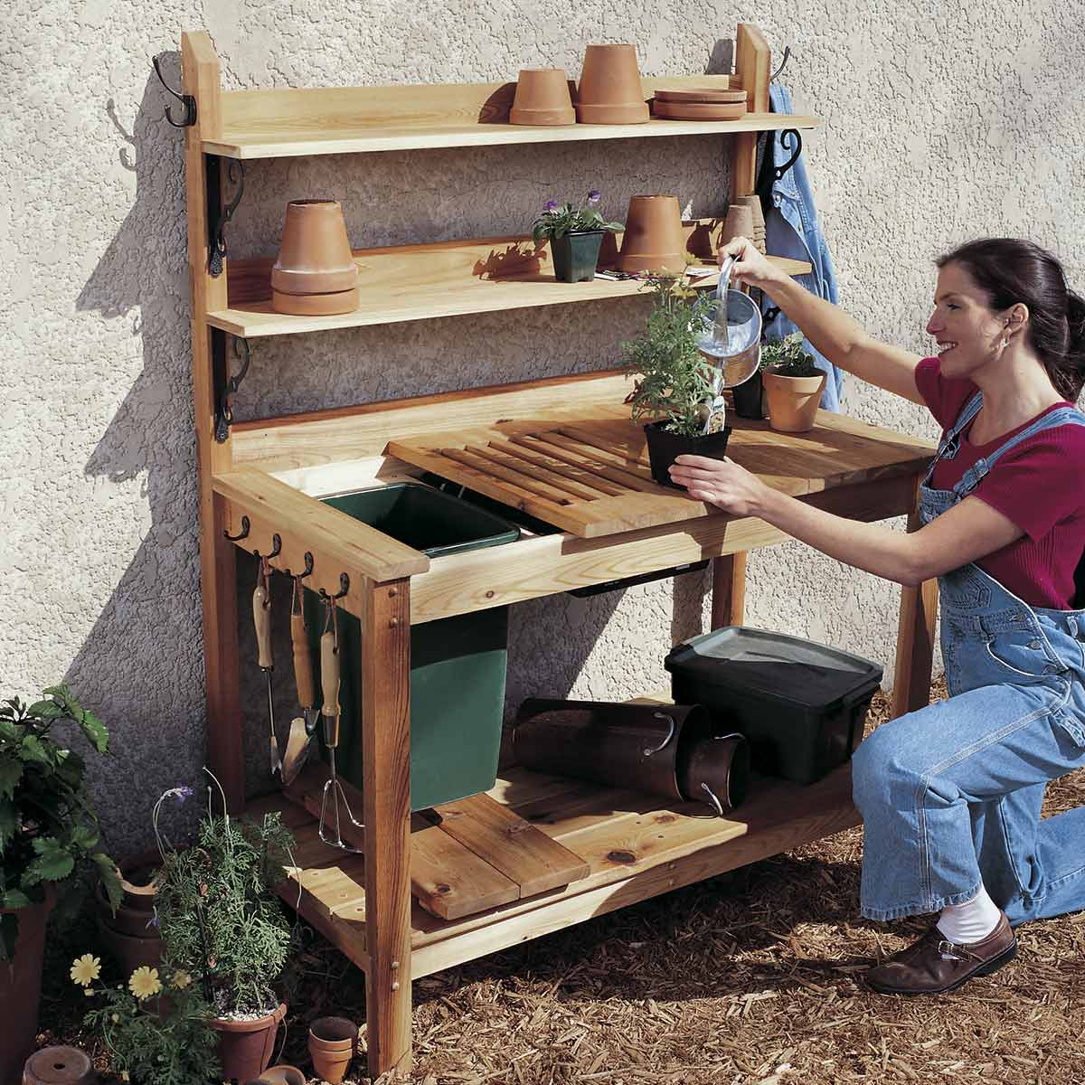 diy outdoor furniture cedar potting bench QZZXRIG