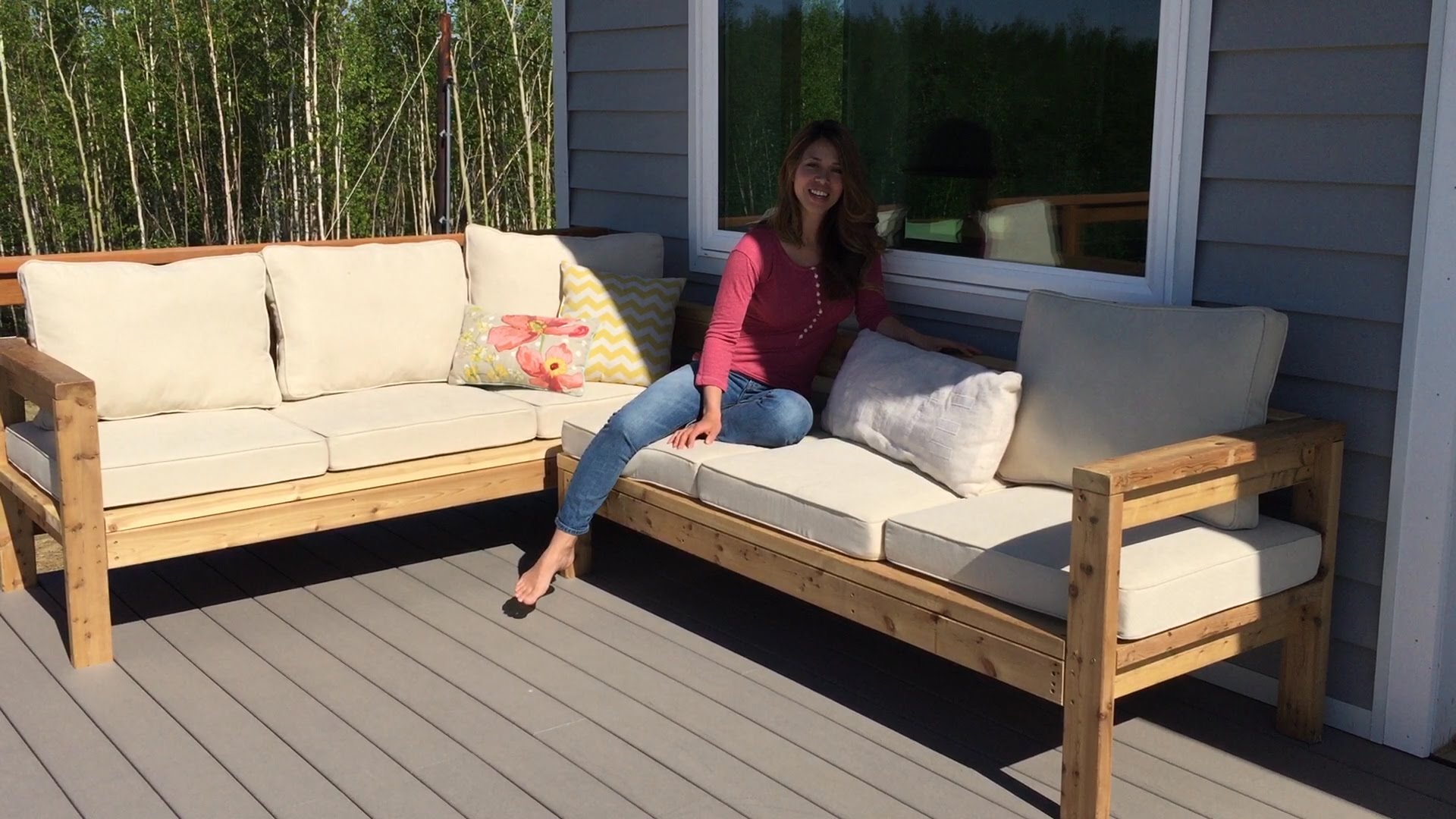 diy outdoor furniture how to build a 2x4 outdoor sectional tutorial - youtube CMCMGNF