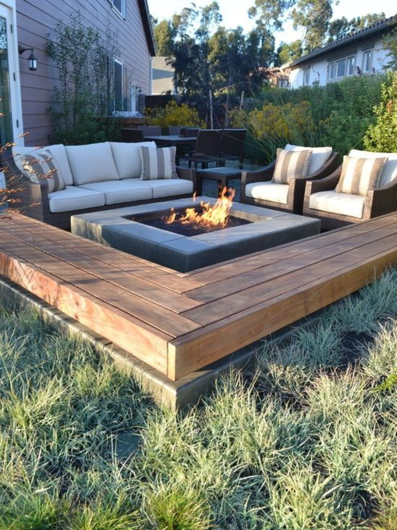 diy patio 12. centered fire pit with sofa and matching armchairs JUFCMCF