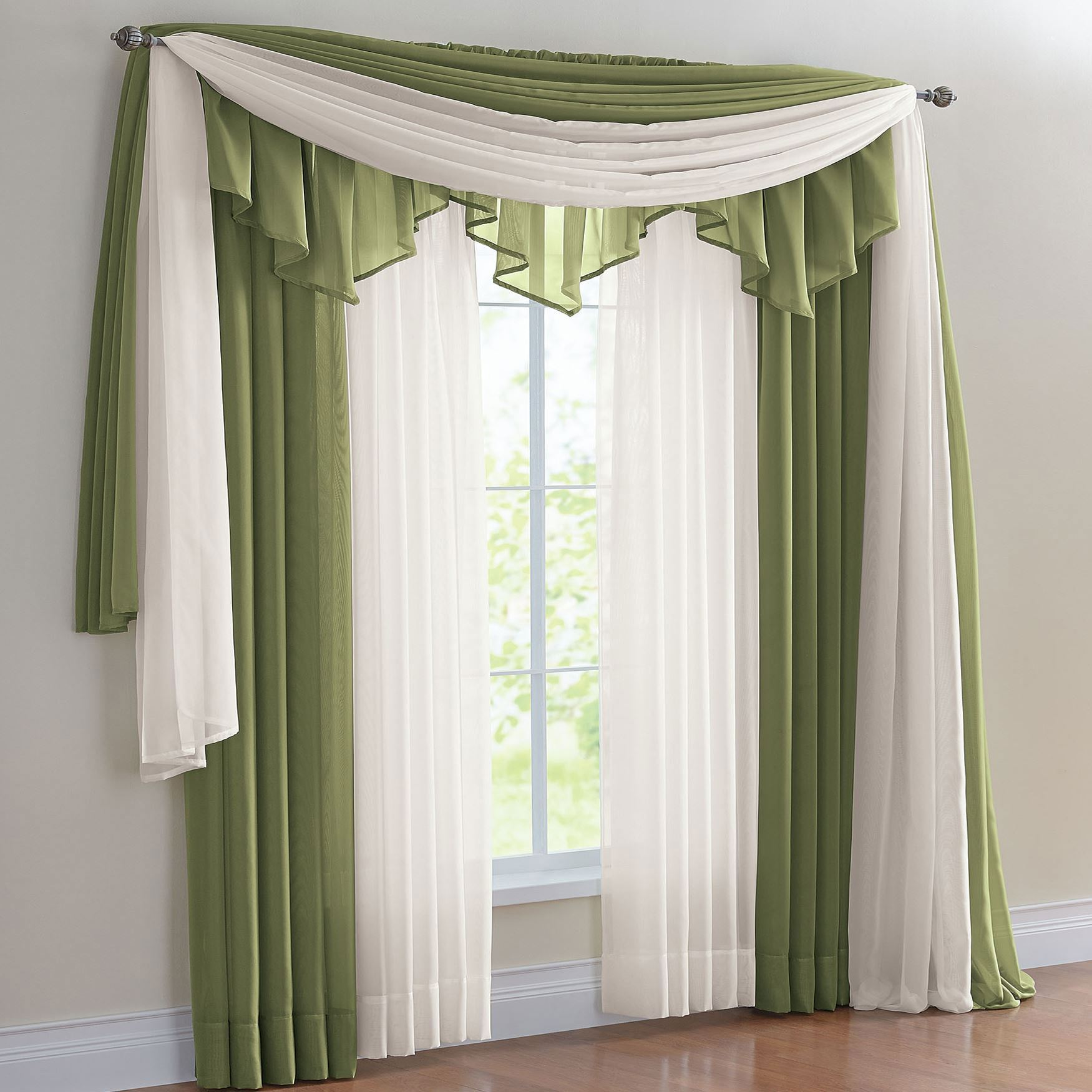 drapes and curtains bh studio® sheer voile ascot valance MYKTLQI