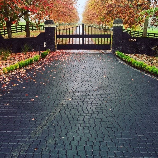 driveway designs black paver driveway ideas with gated entrance UWYYFFH