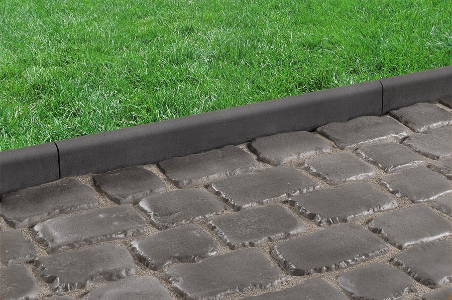 driveway edging drivesys roundtop edging, basalt with drivesys original cobble, iron grey HWUSNSK