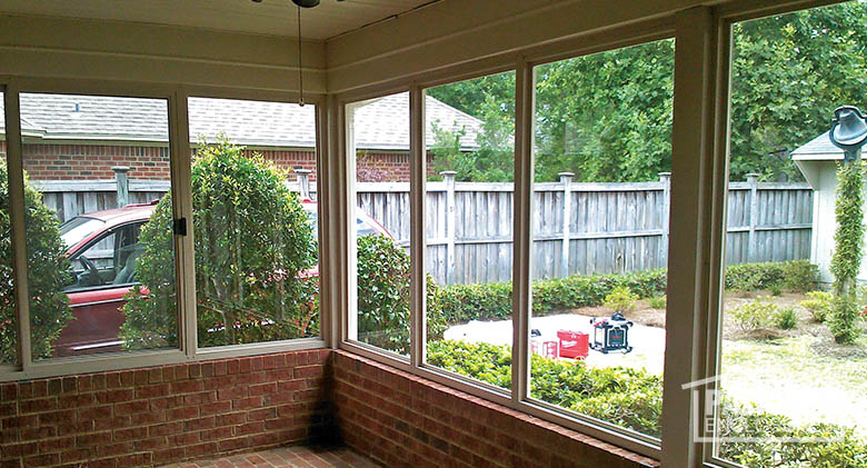 enclosed patio porch enclosure with existing brick knee-wall