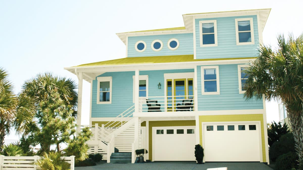 exterior house colors a house of pale blue for a story on trendy exterior paint TSJUAGA