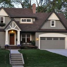 exterior house painting benjamin moore copley gray hc 104 trimmed with bm elephant tusk oc IZFKLGD