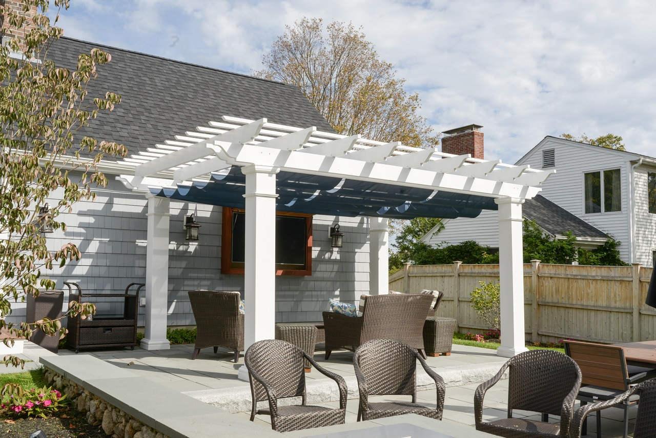 fiberglass pergola kit + retractable canopy ILAAQJI