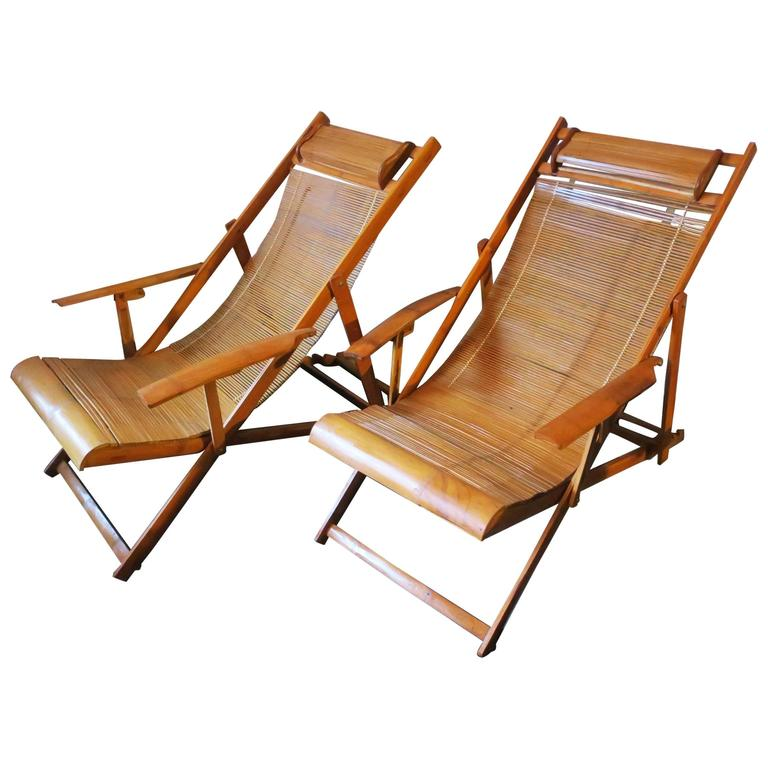 fine unusual pair of mid-century bamboo adjustable deck chairs with  armrests XXWFXVT