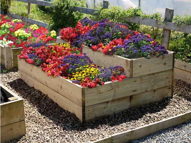 flower beds split level raised flower garden bed ZGZWGEB