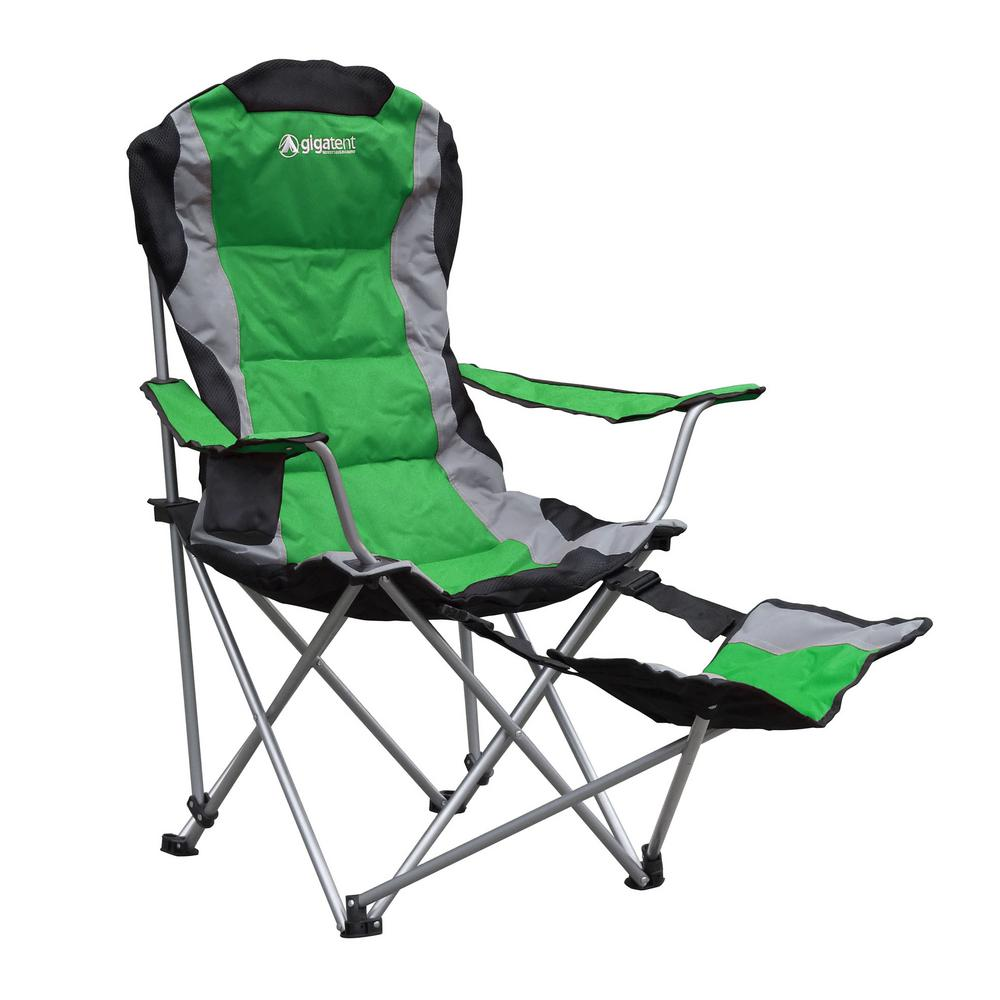 folding camping chairs gigatent padded camping chair with footrest AGDANJD
