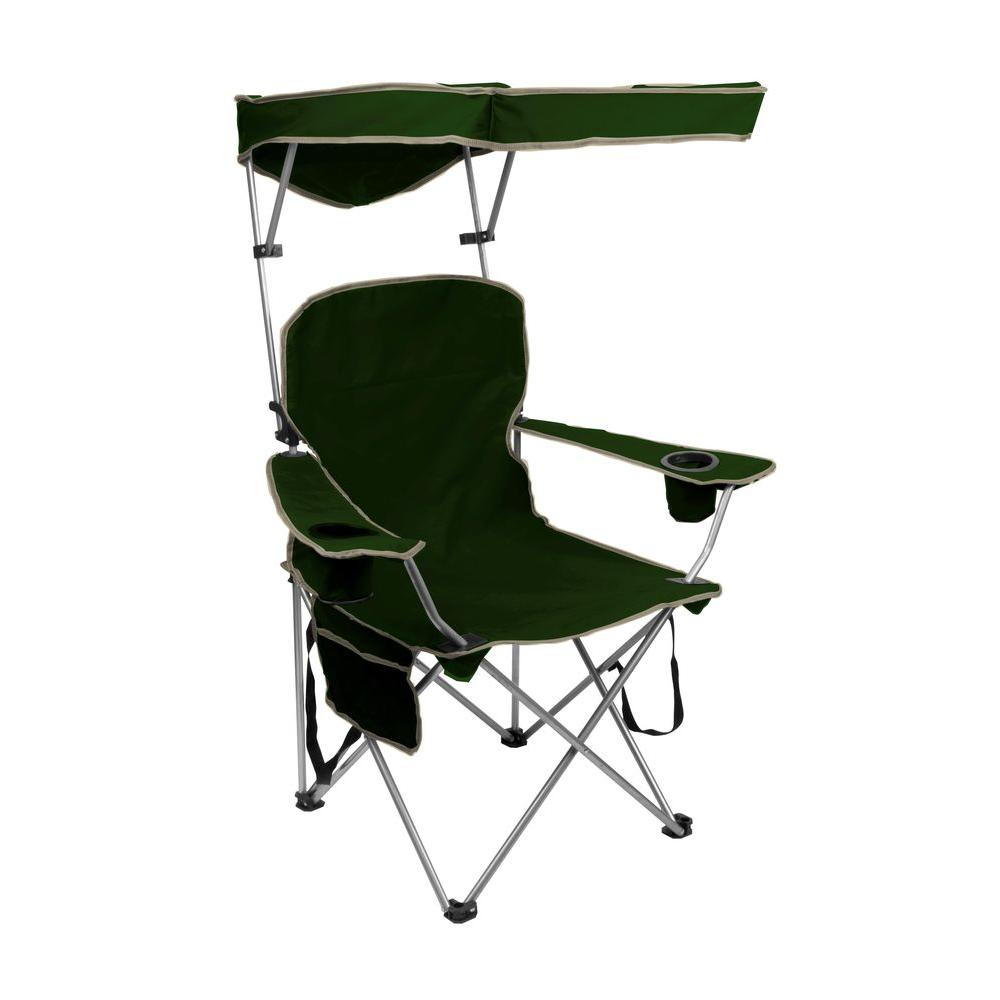 folding chair with canopy quik shade forest green folding patio chair with sun shade AQIUQKS