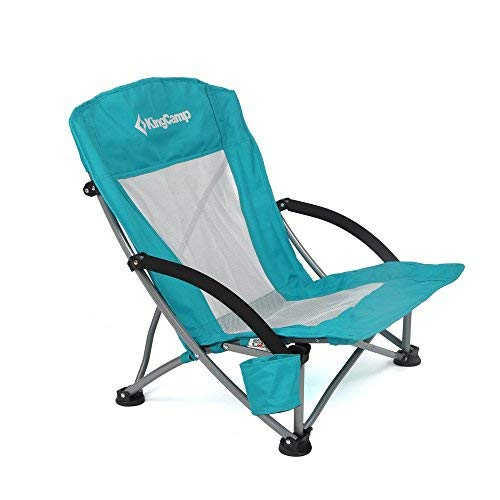 folding lawn chairs kingcamp low sling beach camping folding chair with mesh back (cyan) OJPHYSU