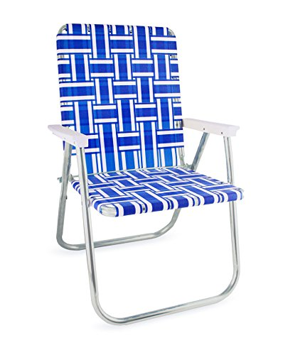 folding lawn chairs lawn chair usa webbing chair (deluxe, blue and white with white arms) CZGECHS