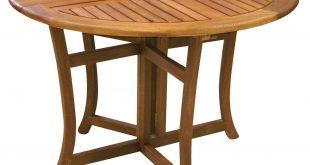folding patio table amazon.com : eucalyptus 43 inch round folding deck table : patio dining UDOVNQK