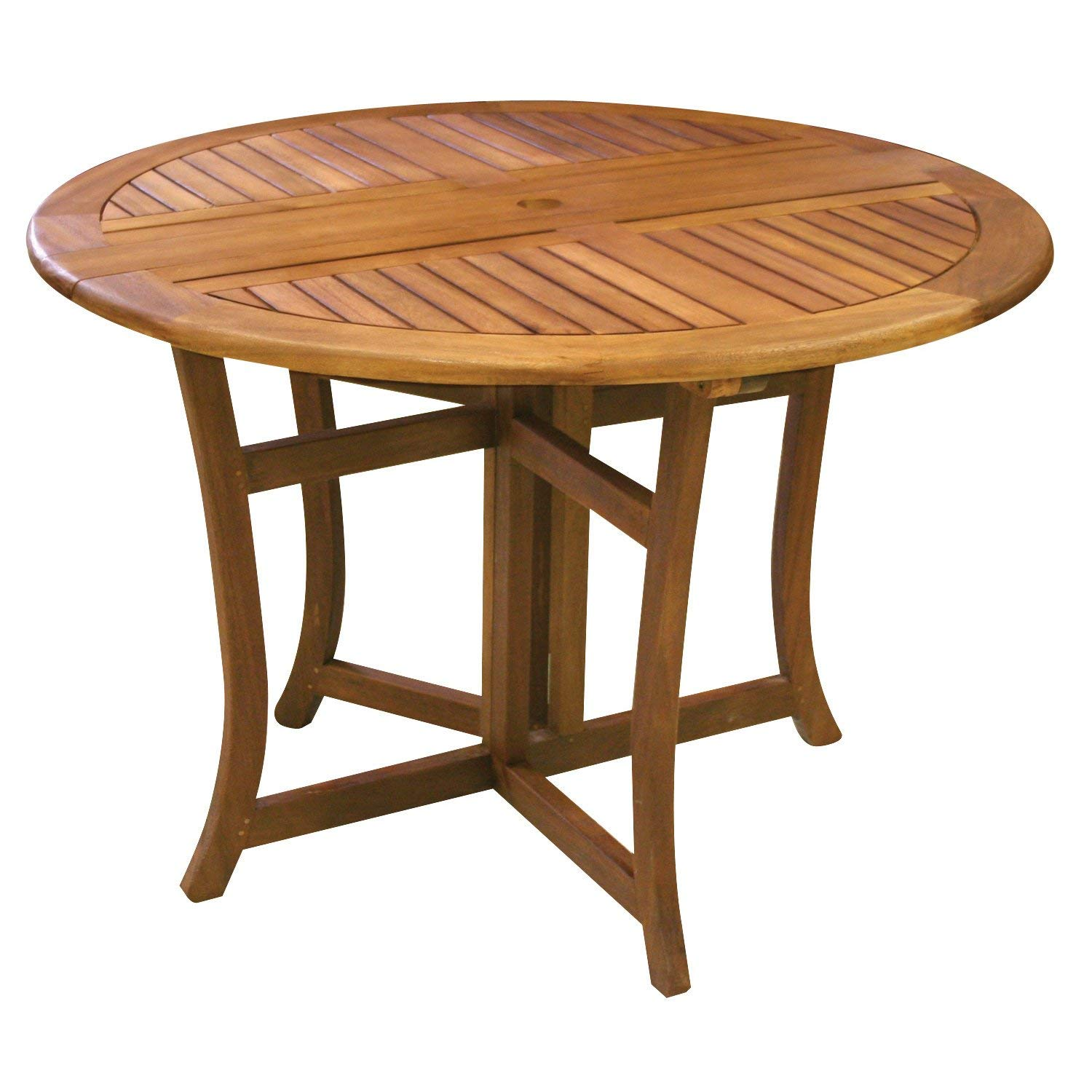 folding patio table amazon.com : eucalyptus 43 inch round folding deck table : patio dining UDOVNQK