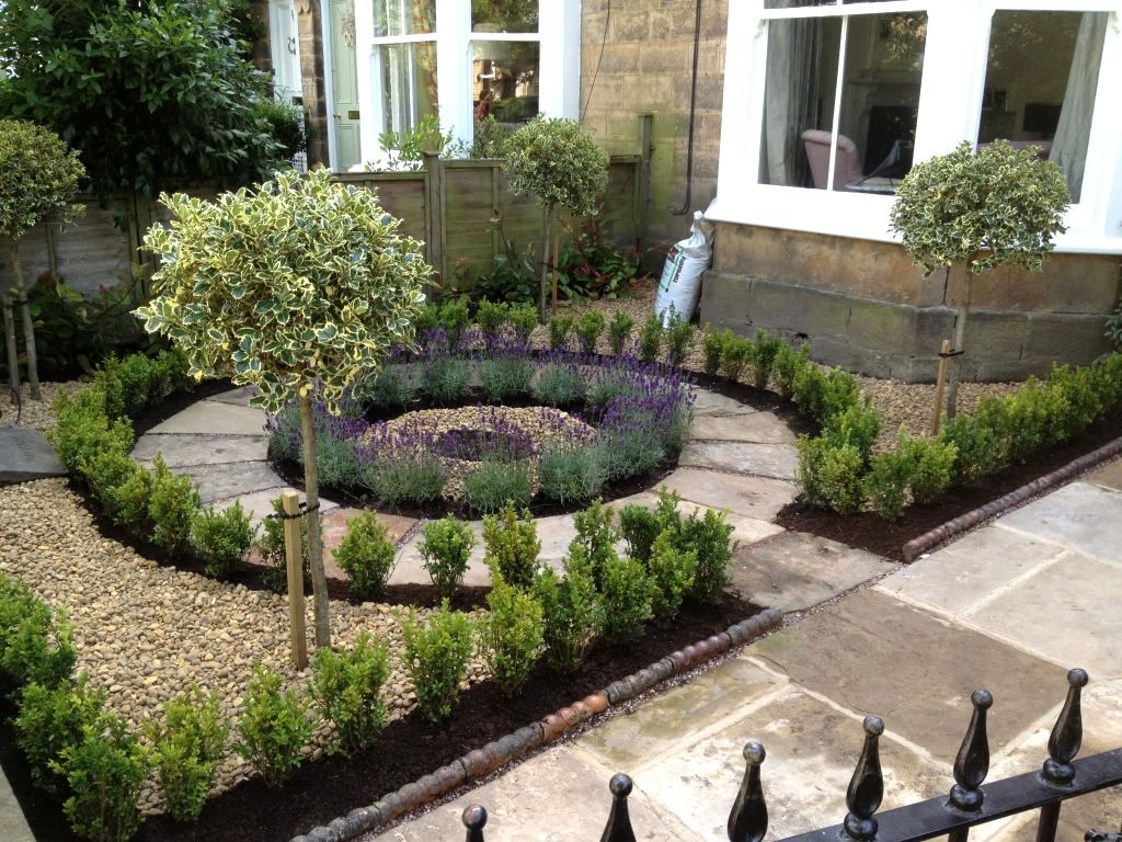 front garden design beautiful no grass, formal front yard garden design with lavender, box and SNOWTRE